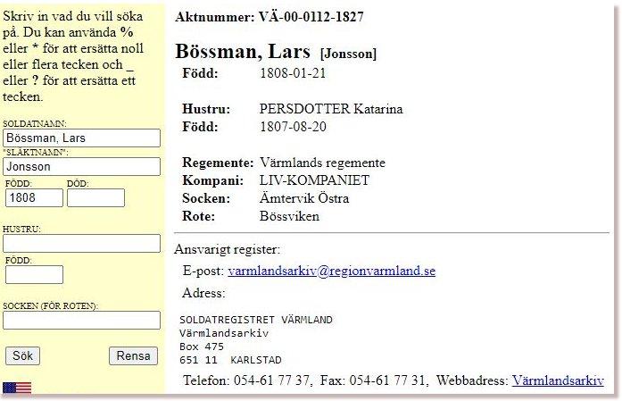 Söksida med information om soldaten Lars Bössman.
