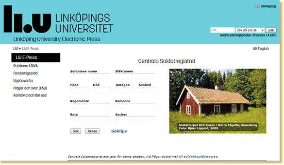Centrala soldatregistrets söksida på Linköping universitet.